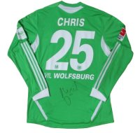 ヴォルフスブルク 2011/12 ホーム ユニフォーム クリス・ヘニング 直筆サイン入り 選手実支給品 Lサイズ adidas